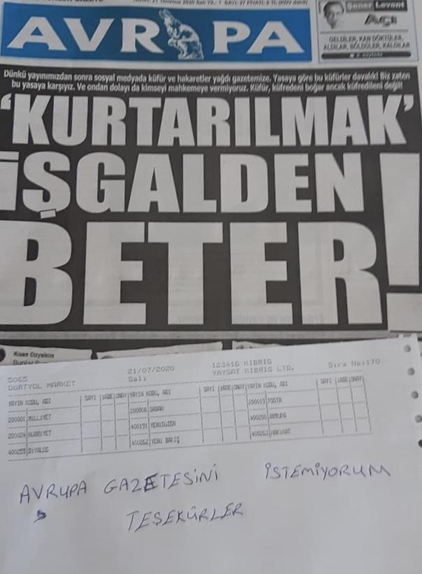 Avrupa gazetesine ilk boykot marketten geldi