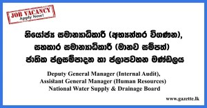 Deputy-General-Manager-(Internal-Audit),-Assistant-General-Manager-(Human-Resources)---National-Water-Supply-&-Drainage-Board