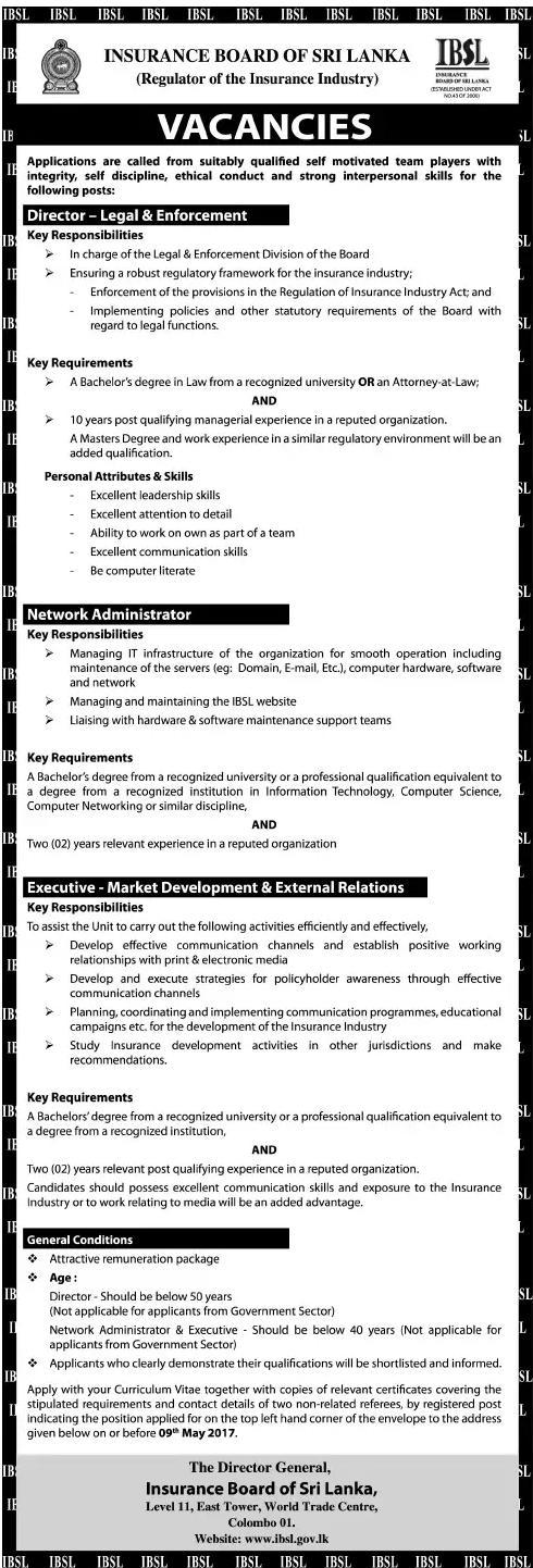IBSL Vacancies - Gazette lk - ගැසට් lk