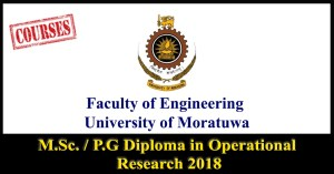 M.Sc. / P.G Diploma in Operational Research 2018 - University of Moratuwa