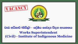 Works Superintendent (Civil) - Institute of Indigenous Medicine