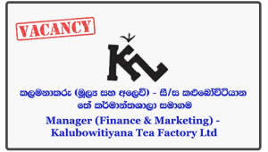 Manager (Finance & Marketing) - Kalubowitiyana Tea Factory Ltd