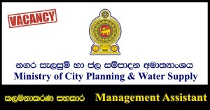 Management Assistant - Ministry of City Planning & Water Supply Vacancies 2018