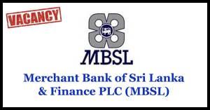 Merchant Bank of Sri Lanka & Finance PLC (MBSL) Vacancies