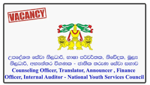 Counseling Officer, Translator, Announcer (Tamil), Finance Officer, Internal Auditor - National Youth Services Council
