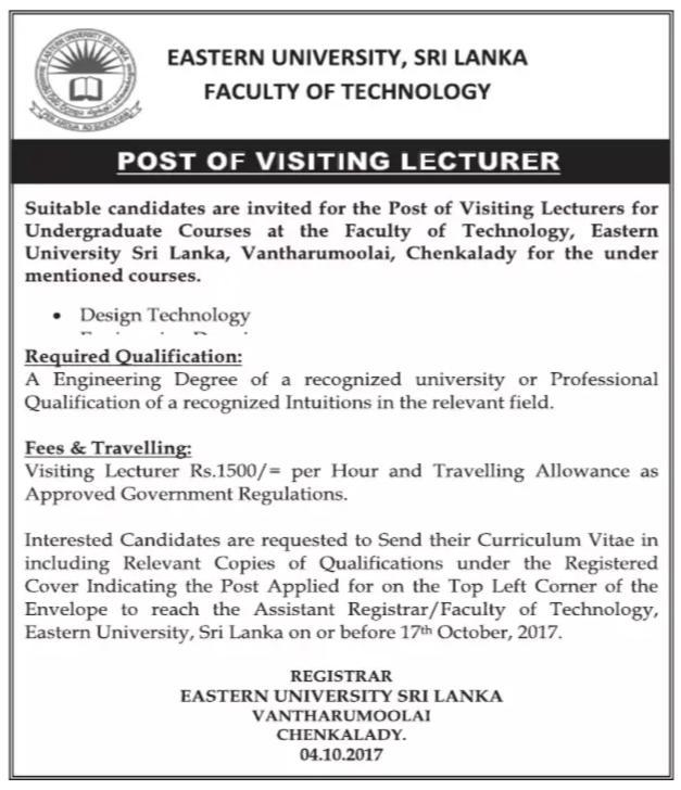 Visiting Lecturer -Eastern University - Gazette lk