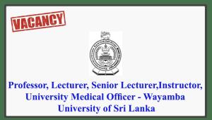 Professor, Lecturer, Senior Lecturer, Instructor, University Medical Officer - Wayamba University of Sri Lanka