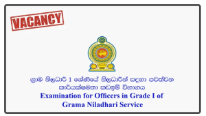 Examination for Officers in Grade I of Grama Niladhari Service – Ministry of Home Affairs 2018