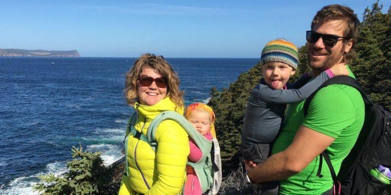 Hiking Blackhead trail, Daniel Fuller, partner Rachel Gough, and children Loïc and Claire Fuller. Fall 2016.