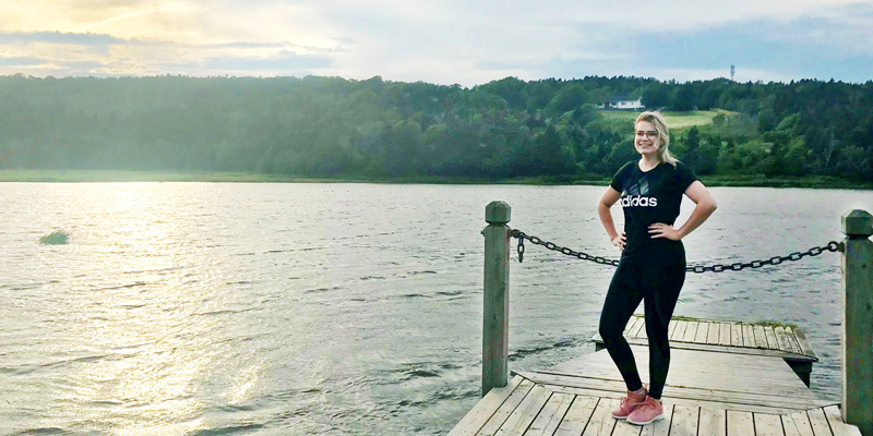 Nicole Noseworthy enjoys staying active at Long Pond near Memorial's campus in St. John's.