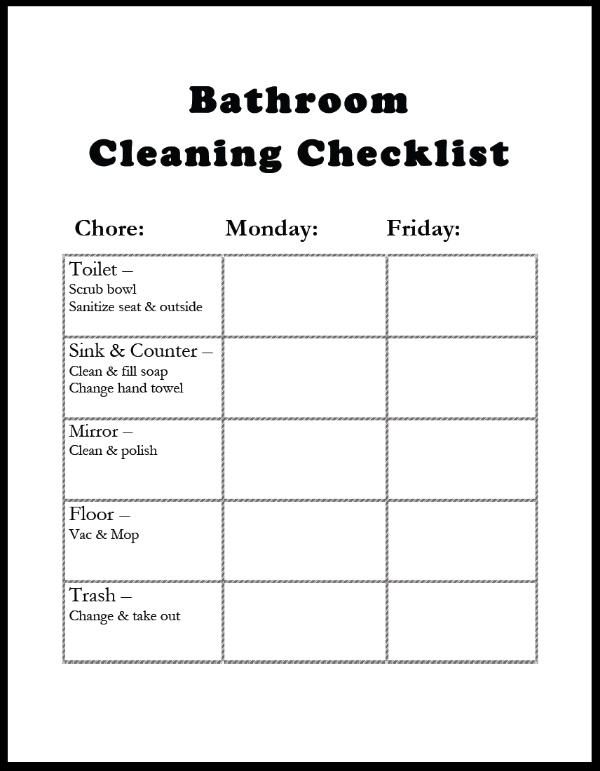 i made up this printable bathroom cleaning checklist to hang in there and the oldest must do the chores and check off that he did them - Bathroom Cleaning Checklist