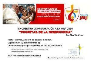Cartel  Encuentro Pre- JMJ 2016  22 abril