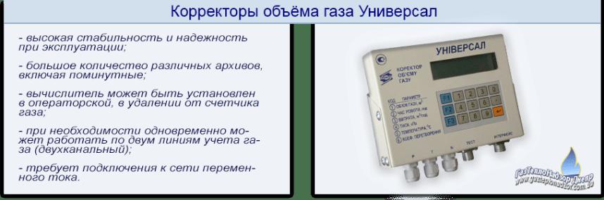 Корректоры объёма газа УНИВЕРСАЛ