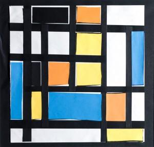 Manuel e Mondrian, collage su carta