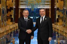 Uzbekistan and Turkmenistan Presidents in Avaza