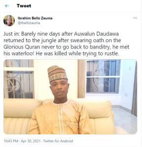 Auwal Daudawa, Pardoned mastermind of Kankara abduction killed after returning to forest