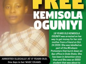 17-year-old Kemisola Oguniyi has been in Prison since #EndSARS Protest