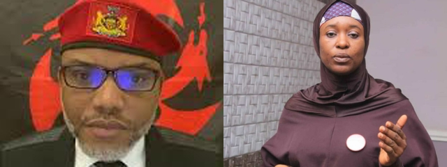 Nnamdi Kanu replies Aisha Yesufu over ESN's Fulani Herdsmen attack