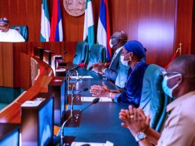 Buhari hosts Obaseki, Shaibu in Aso Villa