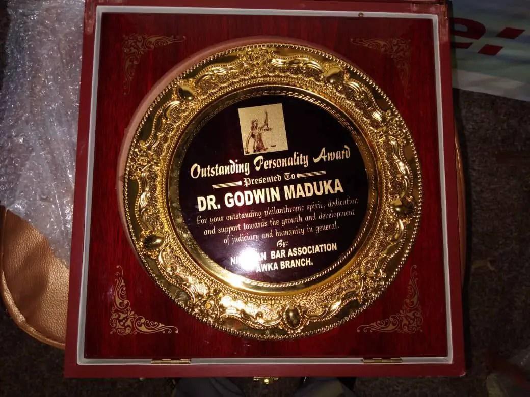 Dr. Godwin Maduka bags another exclusive Award from NBA