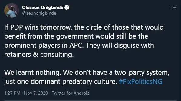 Nigeria running a Dominant Predatory Culture - Olúseun Onígbińdé