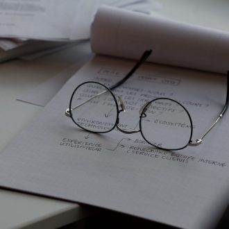 glasses resting on a piece of paper