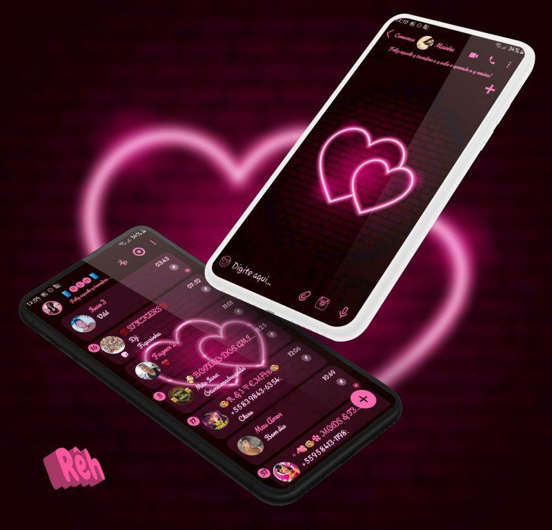 Tema Whatsapp Aero - Neon Hearts