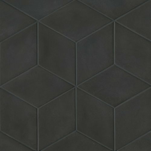 bedrosians allora solid black matte rhombus floor wall tile