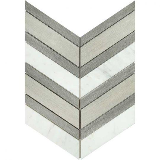 emser intrigue chevron gray fawn 12 x 14 mosaics