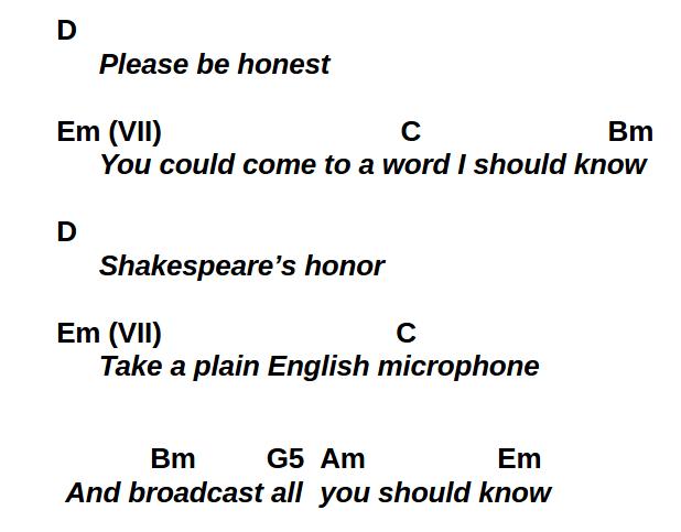 Please Be Honest first chorus