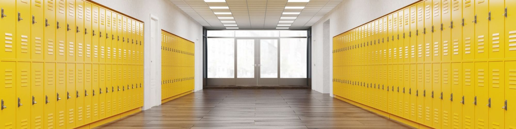 Empty hallway with lockers