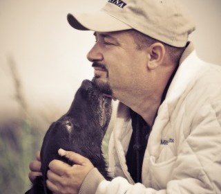 Mitch White with dog