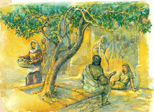 Martha worked while Mary sat listening to Jesus