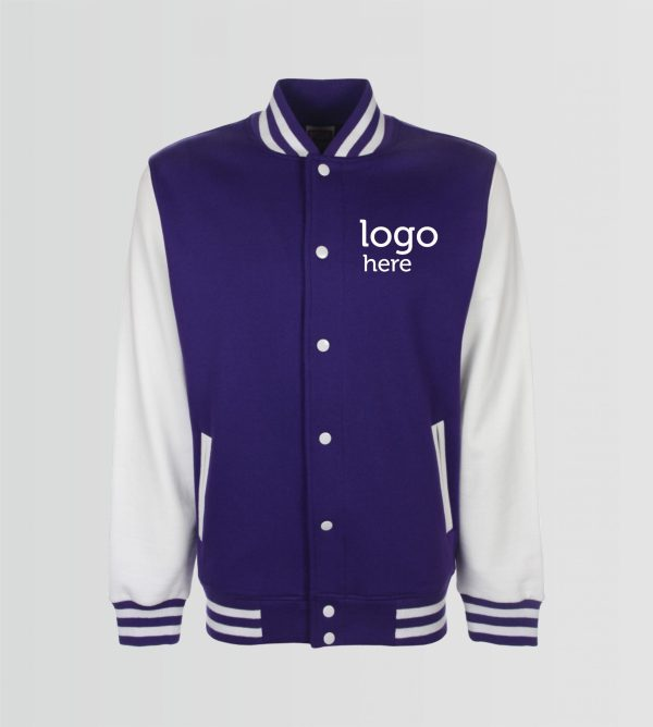 varsity jacket purple/white