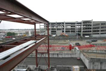 A view from the CSO building, looking toward the train tracks and the Garage and Fueling Platform.