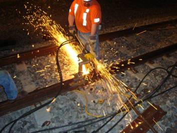 Overnight welding work being done by Amtrak to make the rail continuous.