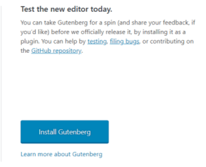 Install Gutenberg from WordPress dashboard