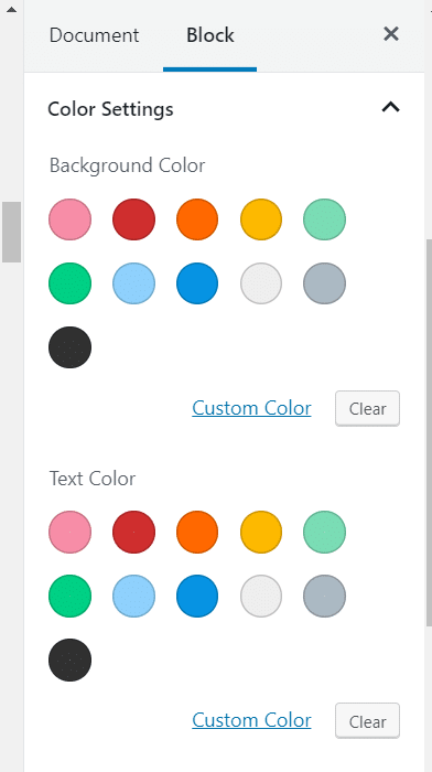 Regular Color Palette in the block editor