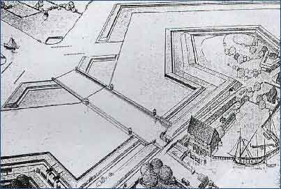Kamienna Grodza - rekonstrukcja. Widoczny budynek młyna oraz śluza z czterema parami wrót (źródło: strona Regionalnego Zarządu Gospodarki Wodnej w Gdańsku)