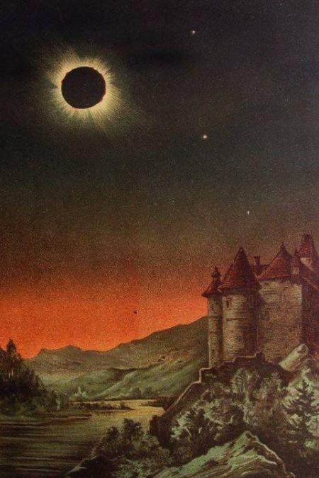 1887 r - rysunek zaćmienia w Niemczech, tuż po wschodzie Słońca.