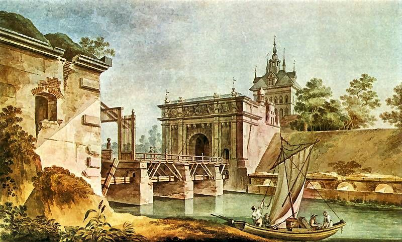 Widok bramy Wyżynnej, zwanej Hohe Toor, z mostem zwodzonym. 1788-1790. Zygmunt Vogel. Gabinet Rycin Biblioteki Uniwersytetu Warszawskiego