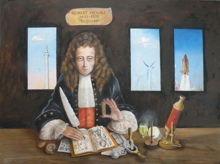 Robert Hooke ze sprężynką