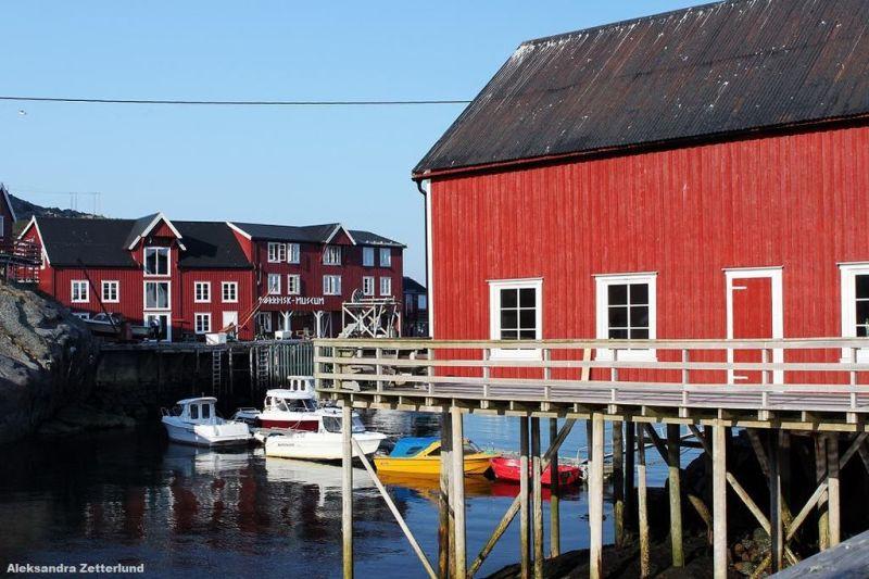 miasteczko Å, na dalszym planie muzeum suszonego dorsza