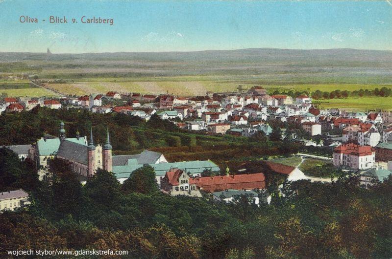 widok na Oliwę ze wzgórza Karlsberg