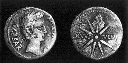 moneta z kometą z czasów Oktawiana Augusta