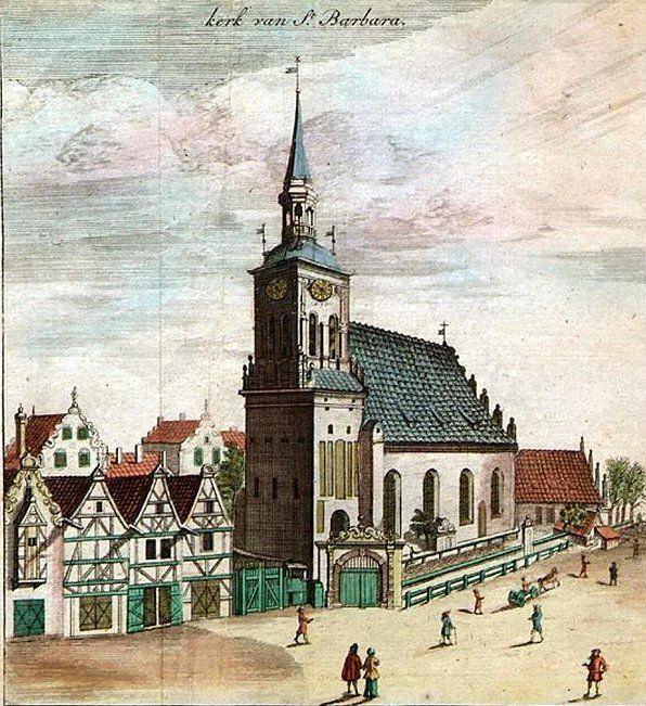 pokolorowana rycina z 1686 przedstawiająca kościół św Barbary. Peter Willer
