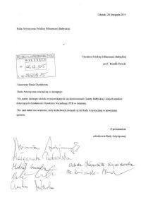Pismo adresowane do Dyrektora Polskiej Filharmonii Bałtyckiej wysłane zostało m.in. do Urzędu Marszałkowskiego.