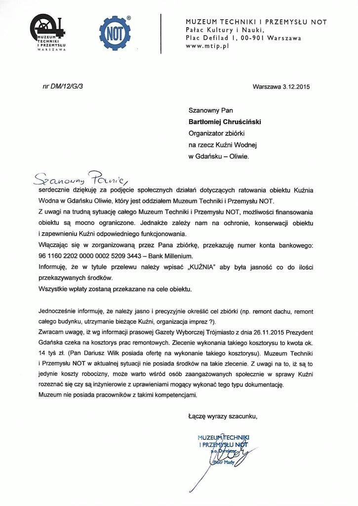 Oficjalne pismo od Dyrektora Muzeum Techniki i Przemysłu NOT Pana Piotra Mady.