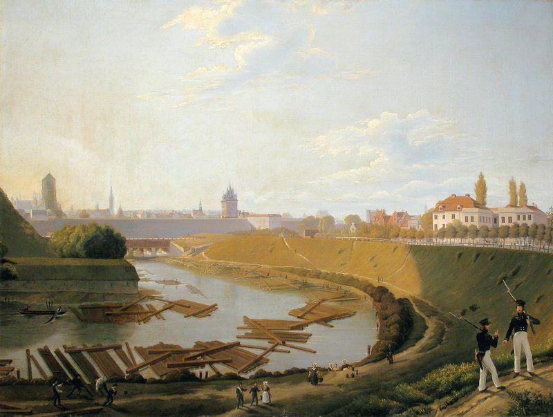 """Friedrich Eduard Meyerheim """"Tratwy z drewnem w fosie miejskiej"""""""