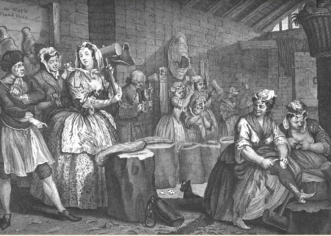 Więzienie Bridewell, kobiety przy lnie, William Hogart, 1732